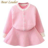 Bear Leader Autumn Girls Clothing Sets 2016 New Houndstooth Knitted Suits Long Sleeve Plaid Jackets Skits