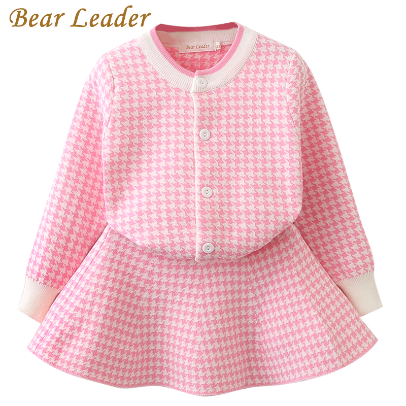 Bear Leader Spring Girls Clothing Sets 2018 New Houndstooth Knitted Suits Long Sleeve Plaid Jackets+Skits 2Pcs for Kids Suits bear leader girls dress 2017 new spring