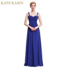 Kate Kasin Summer Evening Dresses Long Robe de Soiree 2017 Elegant Black Green Royal Blue Evening Gowns White Formal Dress 0065