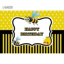 Laeacco Birthday Newborn Baby Show Bee Honey Poser Yello Photography Backdrops Photographic Backgrounds Photocall Photo studio yello touch yello