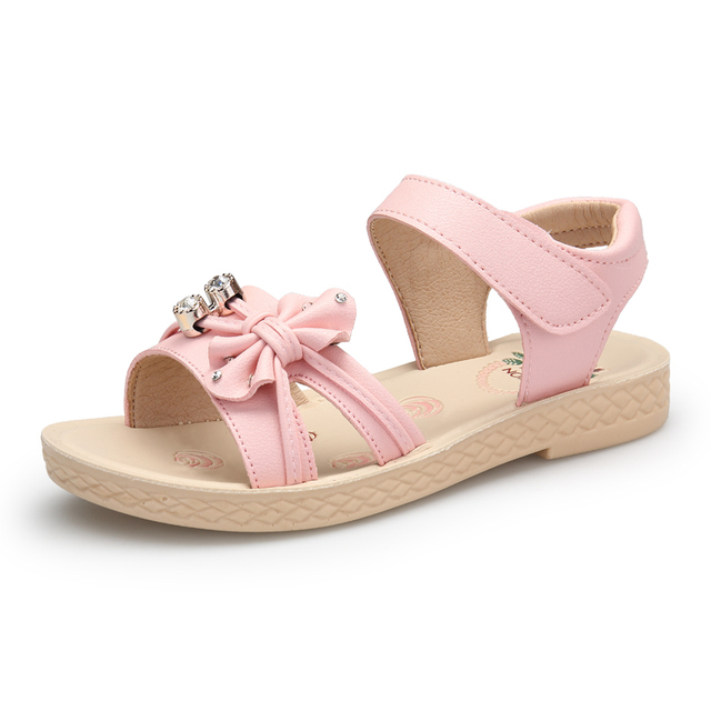 0060f6ede76a Mini Melissa Girls Sandals Casual Bow Tie Breathable Summer Beauty Princess  Shoes Children Flat 2018 Toddler Kids Designer