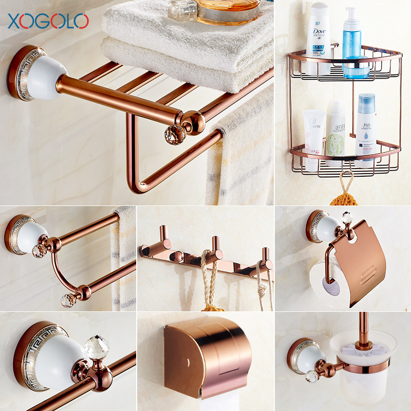 Xogolo solid copper brushed fashion crystal ceramic wall - Wall mounted ceramic bathroom accessories ...