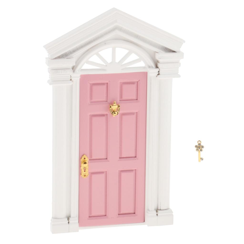 DIY 1:12 Dollhouse Miniature Wooden European-style Villa Gate Door 1/12 Doll House Decor Furniture Toys for Children Kids Gift