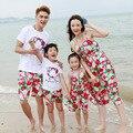 Новый 2017 летом соответствия мать дочь одежда Семейного отдыха и путешествий пляжная платье Папа Сын футболка шорты костюмы