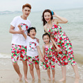 new 2017 summer matching mother daughter clothes Family leisure travel beachwear dress Dad Son tshirt shorts suits