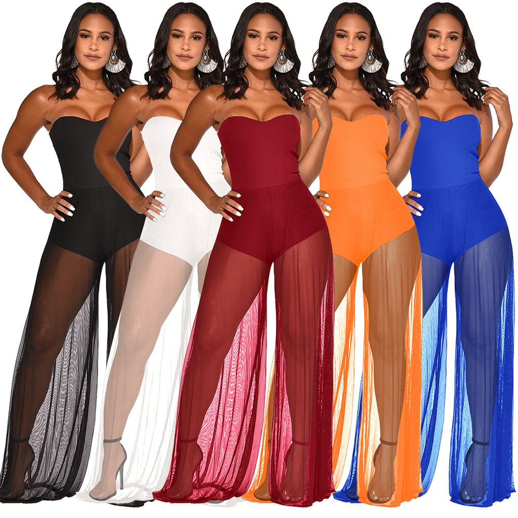 Sexy Backless Jumpsuit Women Gauze Pure Color Sleeveless Strapless Long Playsuit Ladies Clubwear Bodycon beach Trousers  Muje