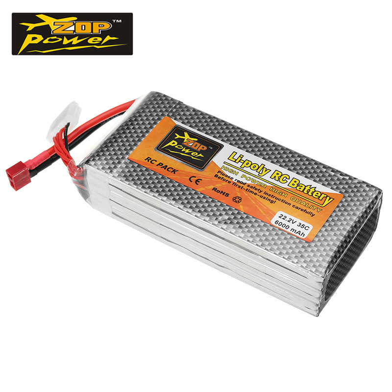 ZOP Power 22.2V 6000mAh 35C 6S Rechargeable Lipo Battery T Plug Connector for RC Model Quadcopter Helicopter Power Accs