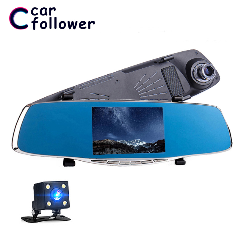 Full HD 1080P <font><b>Car</b></font> <font><b>Dvr</b></font> Dash Camera 4.3 inch Rearview <font><b>Mirror</b></font> Digital Video Recorder Dash Cam Dual Lens Registratory Camcorder image