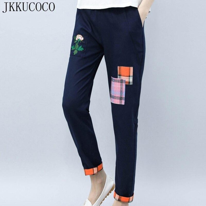 JKKUCOCO Embroidery Flowers Patchwork Women Pants Elastic Waist Thin Loose Straight Cotton Linen pants Women long