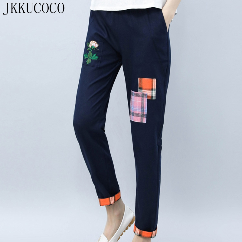 JKKUCOCO Embroidery Flowers Patchwork Women Pants Elastic Waist Thin Loose Straight Cotton Linen pants Women long Vintage pants-in Pants & Capris from Women's Clothing    1