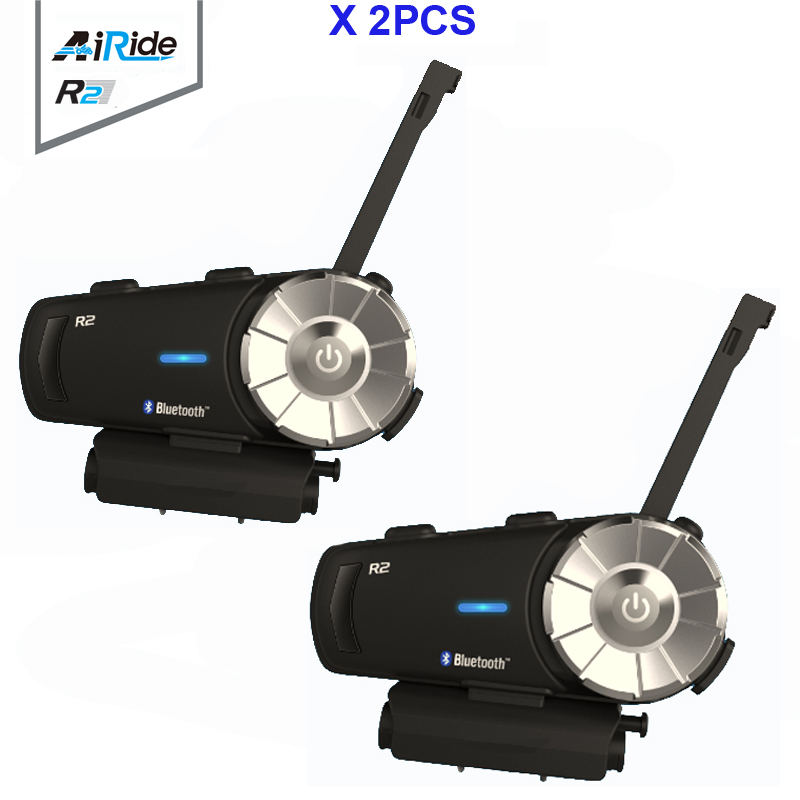 2PCS Airide R2 1000m Motorcycle Bluetooth Helmet Group Intercom Headset MP3 Voice  FM Radio Command Handsfree BT Interphone