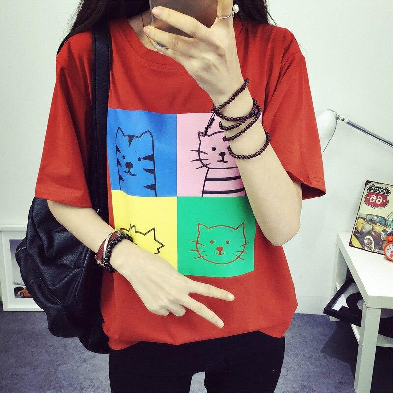 Harajuku Nové dámské tričko Kawaii Character Cats Printed Short Sleeve Girl Summer Tee Tops Oblečení Drop Shipping