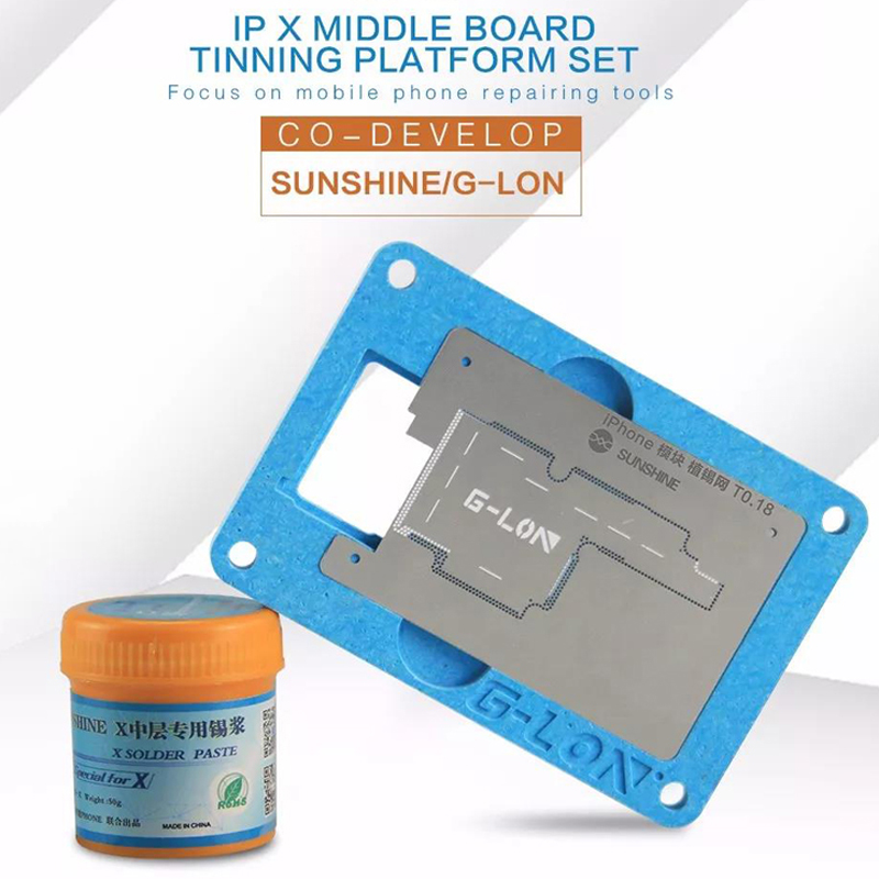 BGA Reballing Stencil Soldering Net With Solder Paste for iphone X Motherboard Planting Tin Fixture Logic