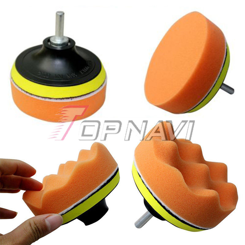 "4/"" Car Polisher Pad Buffering Gross Polish Polishing Tool Kit with Drill Adapter"