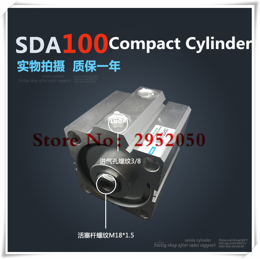 SDA100*50-S Free shipping 100mm Bore 50mm Stroke Compact Air Cylinders SDA100X50-S Dual Action Air Pneumatic Cylinder sda100 100 free shipping 100mm bore 100mm stroke compact air cylinders sda100x100 dual action air pneumatic cylinder