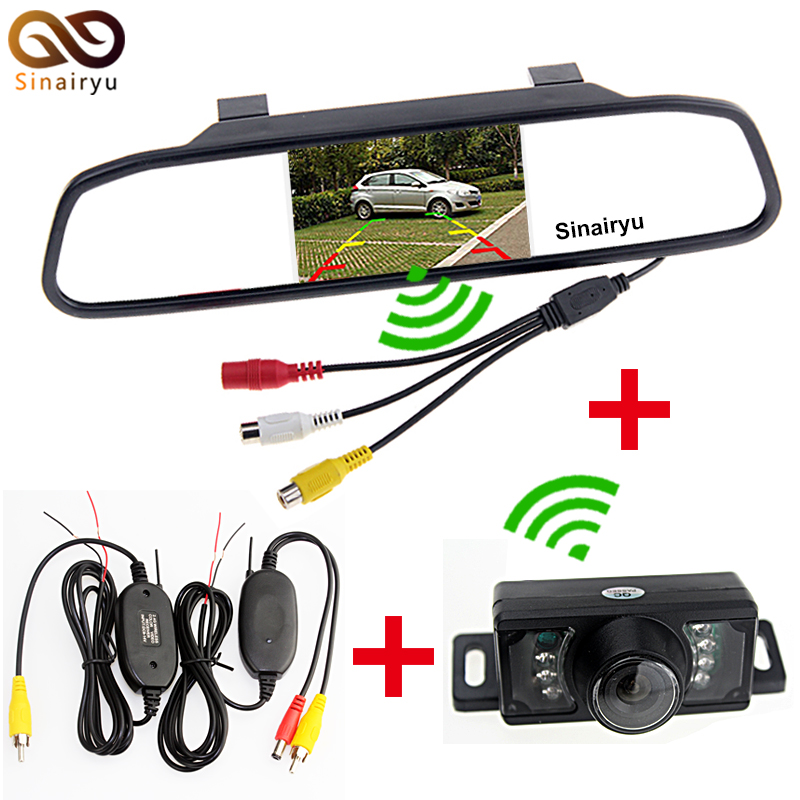 Sinairyu 3In1 Car Parking Assistance System Car Rear View Monitor + IR Night Vision Rearview Camera + 2.4Ghz Wireless kit