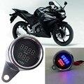Universal motocicleta tacômetro rpm tach medidor + medidor de tensão voltímetro digital led metal case para honda suzuki motos moto