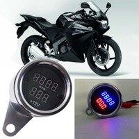 Uniwersalny Motocykl Led Cyfrowy Obrotomierz RPM Tach Wskaźnik + Miernik Napięcia Woltomierz Metalowa Obudowa Dla Honda Suzuki Motocyklowe Moto