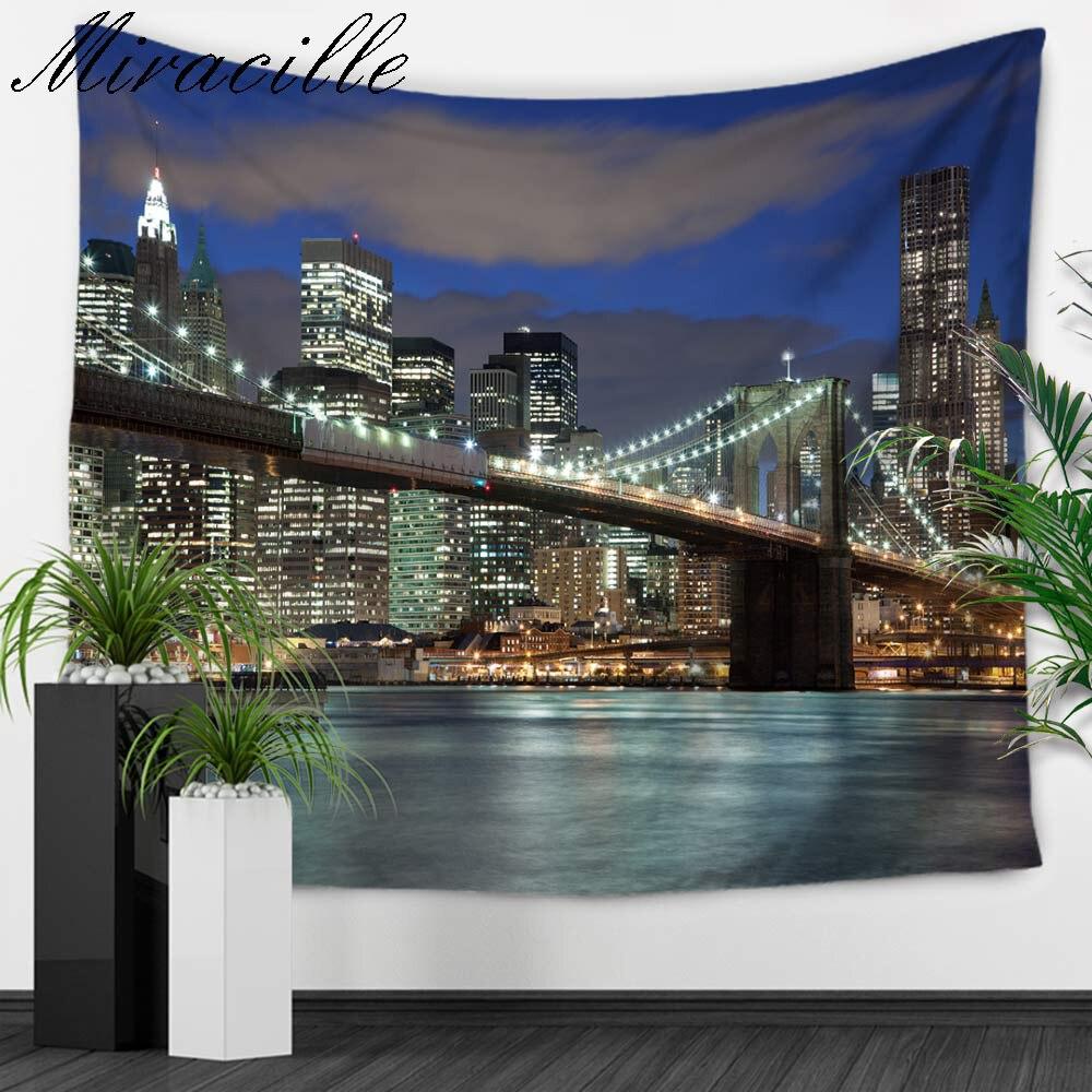 Miracille calle puente impresión decorativa Tapices pared dorms Tapestries Beach Mantas tabla Toalla de tela