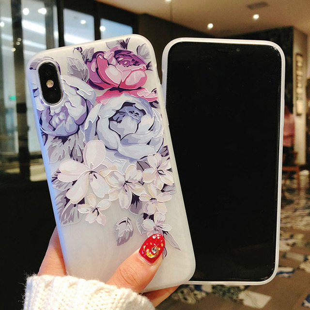 USLION Flower Silicon Phone Case For iPhone 7 8 Plus XS Max XR Rose Floral Cases For iPhone X 8 7 6 6S Plus 5 SE Soft TPU Cover