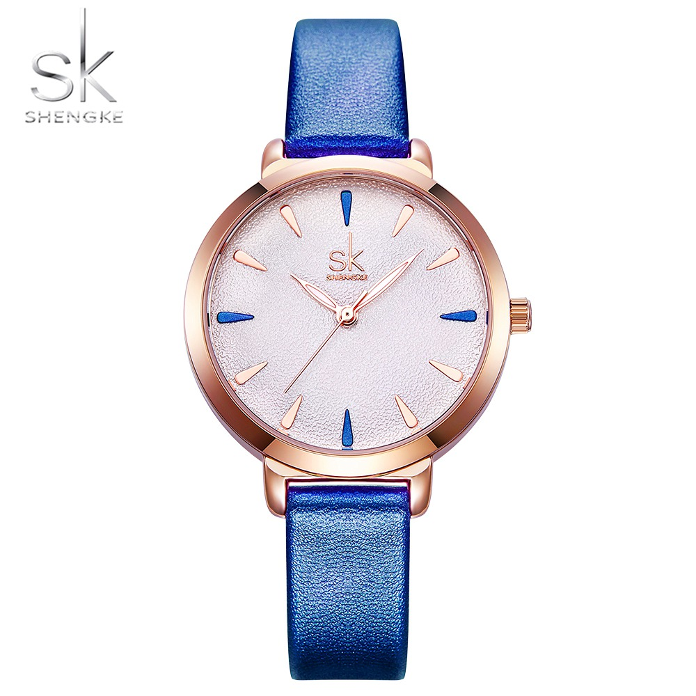 Shengke New Blue Leather Strap Women Colorful Watches Quartz Ladies Watch Simple Casual Dial Cheap Price Light Relogio Feminino