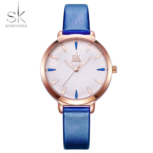Shengke New Blue Leather Strap Women Colorful Watches Quartz Ladies Watch Simple