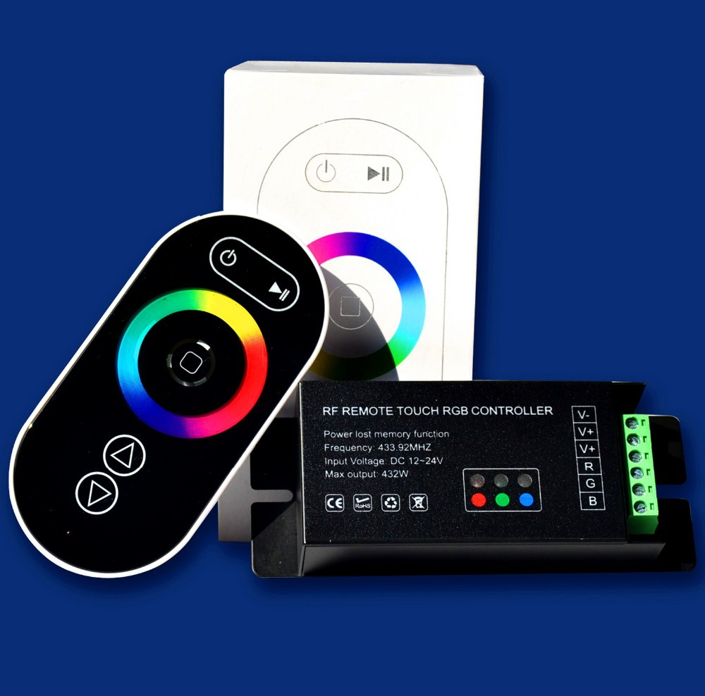 promotion!!! RGB LED controller with black RF touch remote;DC12-24V input;6A*3CH output