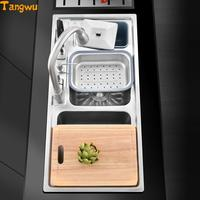 Double Groove 304 Stainless Steel Wire Drawing And Thick Package Multifunctional Kitchen Washing Basin