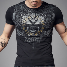 Black 3D Print Tiger T Shirt Men O neck 100% Cotton Tees Short sleeve Summer Tops