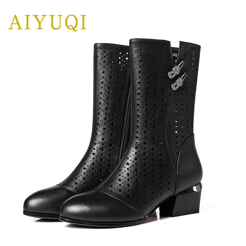 2019 Fraîches Chaussures En De Cuir Frais Marque Mode Femmes Respirant Bottes Nouveaux Véritable Aiyuqi Black Maille QdshtCr
