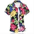 Camisa New High Quality Printed Casual Shirts Mercerized Cotton Stretch Fashion Shirt Short Sleeve Men , Size 6xl=us 4xl,g457