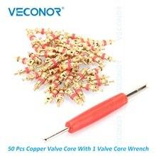 50Pcs ทองแดงวัสดุยางวาล์ว Core 1 Core ขับรถประแจยาง Core เปลี่ยนสำหรับยางซ่อมแซม