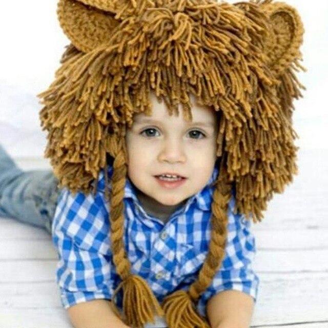 autumn winter children lion hat boys girls handmade knitting wool wigs hat baby kids lion head