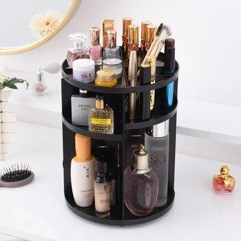 360 Dönen Makyaj Organizatör saklama kutusu Ayarlanabilir Plastik Kozmetik Fırçalar ruj tutucu Makyaj Takı Konteyner Standı