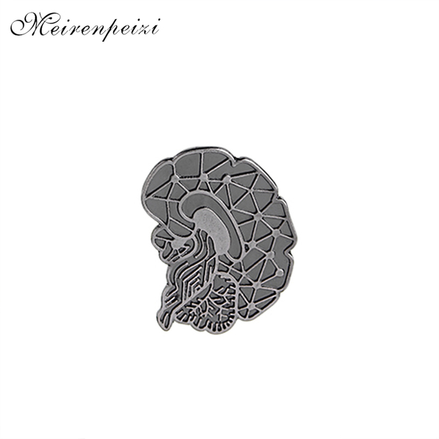 b0e1f6e7e8 US $0.76 49% OFF|vintage Brain Brooches Pins Cartoon Human Organs Medical  Brain lapel pin badge Enamel Lapel Pins Women Girl denim Clothing hat-in ...