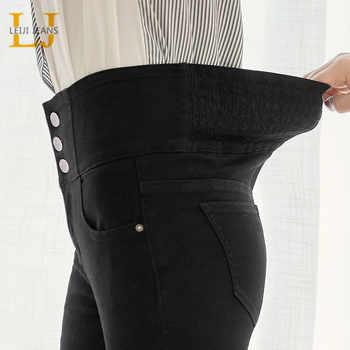 LEIJIJEANS 2019 autumn high waist slim ladies jeans button fly elastic waist legging jeans plus size stretchy black women jeans - DISCOUNT ITEM  51% OFF All Category
