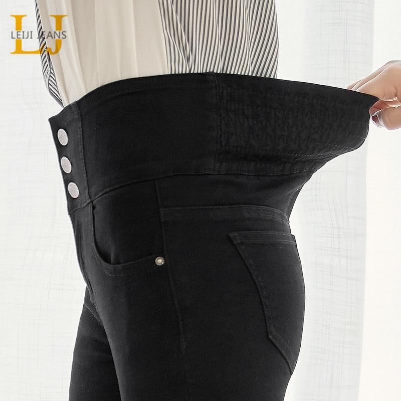 LEIJIJEANS 2020 Autumn High Waist Slim Ladies Jeans Button Fly Elastic Waist Legging Jeans Plus Size Stretchy Black Women Jeans