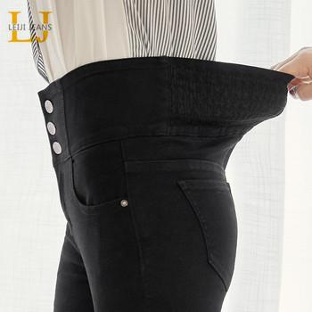 LEIJIJEANS 2020 jesień wysokiej talii szczupłe panie guzik do dżinsów fly legginsy z elastyczną talią dżinsy plus rozmiar rozciągliwe czarne dżinsy damskie tanie i dobre opinie COTTON spandex Pełnej długości 19-9088 WOMEN Na co dzień Zmiękczania Wysoka Zipper fly NONE Ołówek spodnie skinny