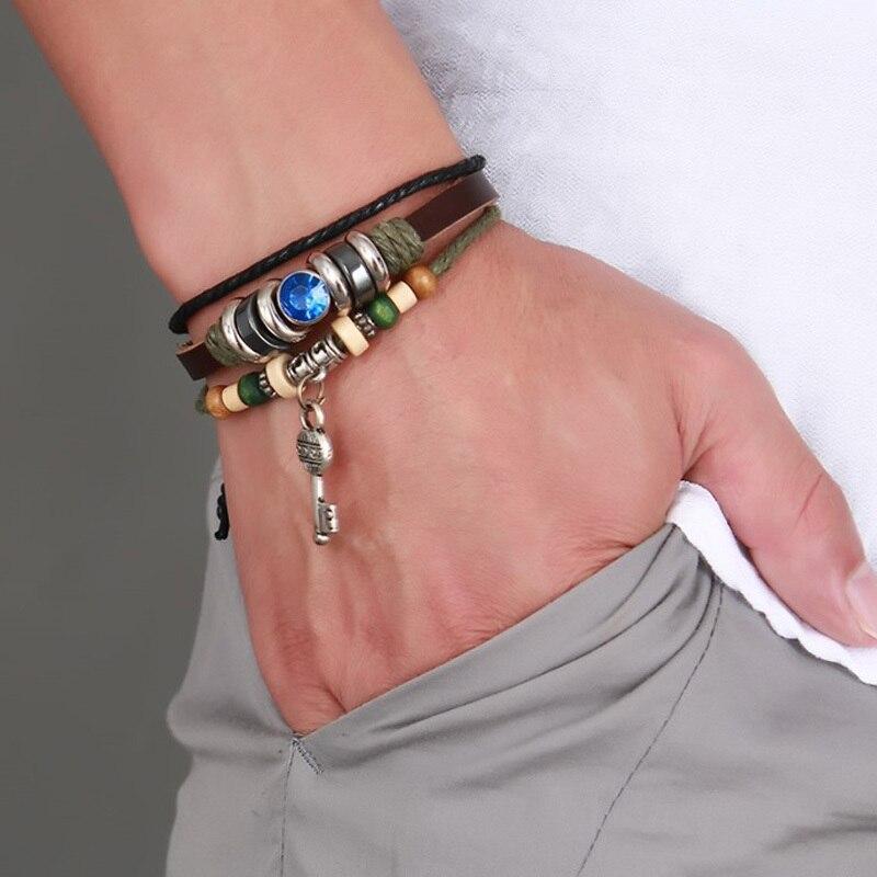 Mens Key Leather Wrap Bracelet in Brown Adjustable Drawstring Cuff Braslet Wristband Vintage brackelts Jewelry