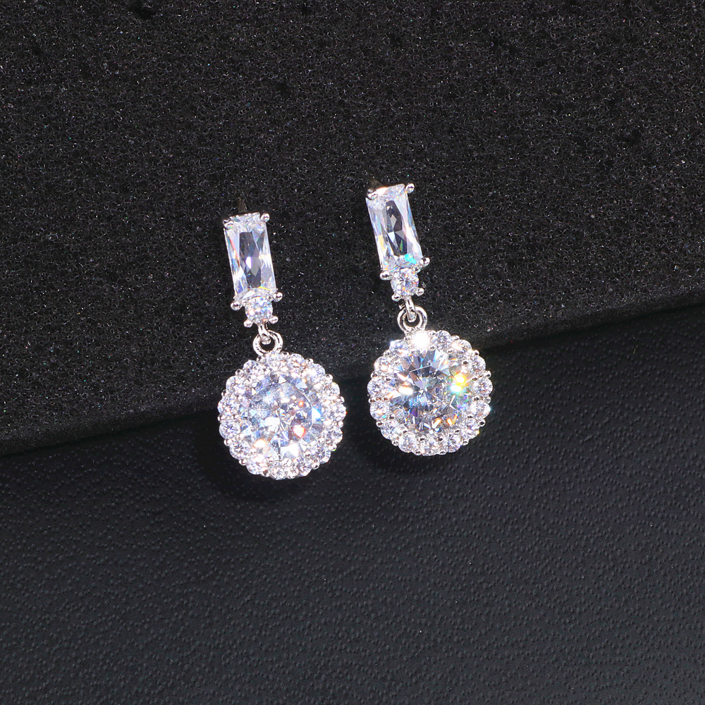 Classic Luxury Round Cubic Zircon Earrings for Women Bride Trendy Sparking Crystals Drop Earrings Wedding Earrings Gifts WX156