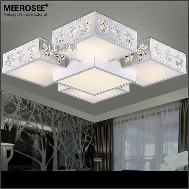 White Led Ceiling Lamp Vintage 22 Inch Square Light Black Hallway Fixtures Surface Mounted Lighting