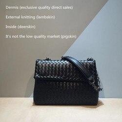 Внутренняя и внешняя Дерма 2019, новая модель, сумка на одно плечо, Высококачественная тканая сумка из овечьей кожи, женская натуральная кожа