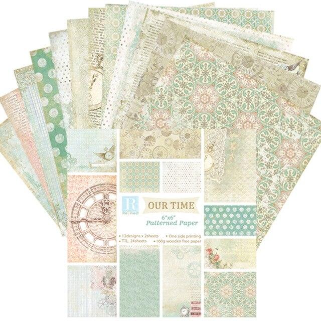 US $4 24 15% OFF|24Pcs/Set Scrapbooking Paper Scrapbook DIY Photo Album  Card Crafts Decoration Background Pad Handwork Supplies 15*15cm-in Craft  Paper