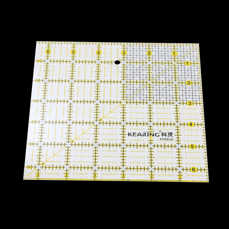 1 Pcs 6.5 * 6.5 Inches 3mm Acrylic Material Thickness Of The Fluorescent Yellow And Black Color Scale Cutting Patchwork Ruler