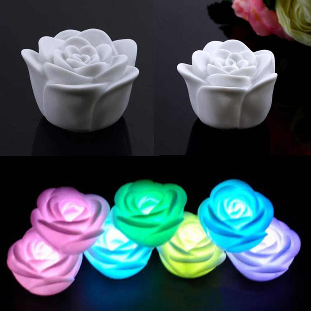 1pc Rose Flower LED Light Night 7 Colors Changing Candle Light Lamp Romantic for Wedding Bar Party Chinese Valentine's Day Decor
