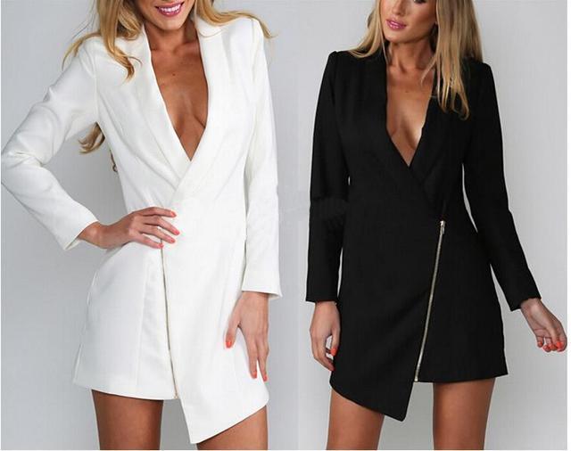 Free Shipping V Neck Long Sleeved Women S Fashion Irregular Zipper