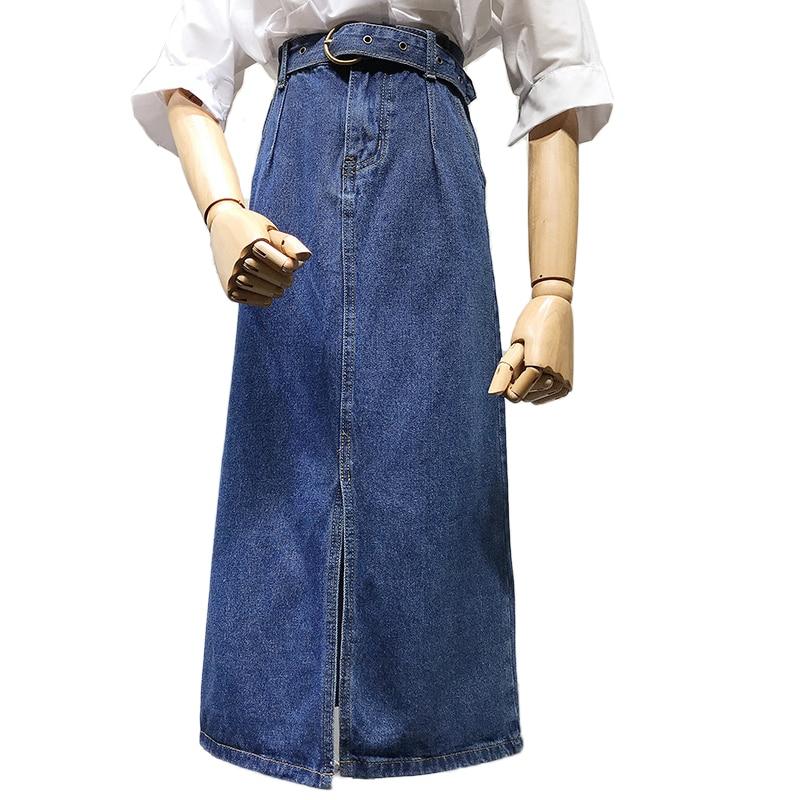 New Autumn Fashion Denim Skirt Women High Waist Package Hip Skirt  Mid Claf A- Line Jeans Skirt Plus Size 2XL