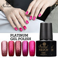 Saviland 1pcs Platinum UV Nail Gel Polish Soak Off 12 Colors Shining Glitter Gel Polish Long Lasting Nail Varnishes