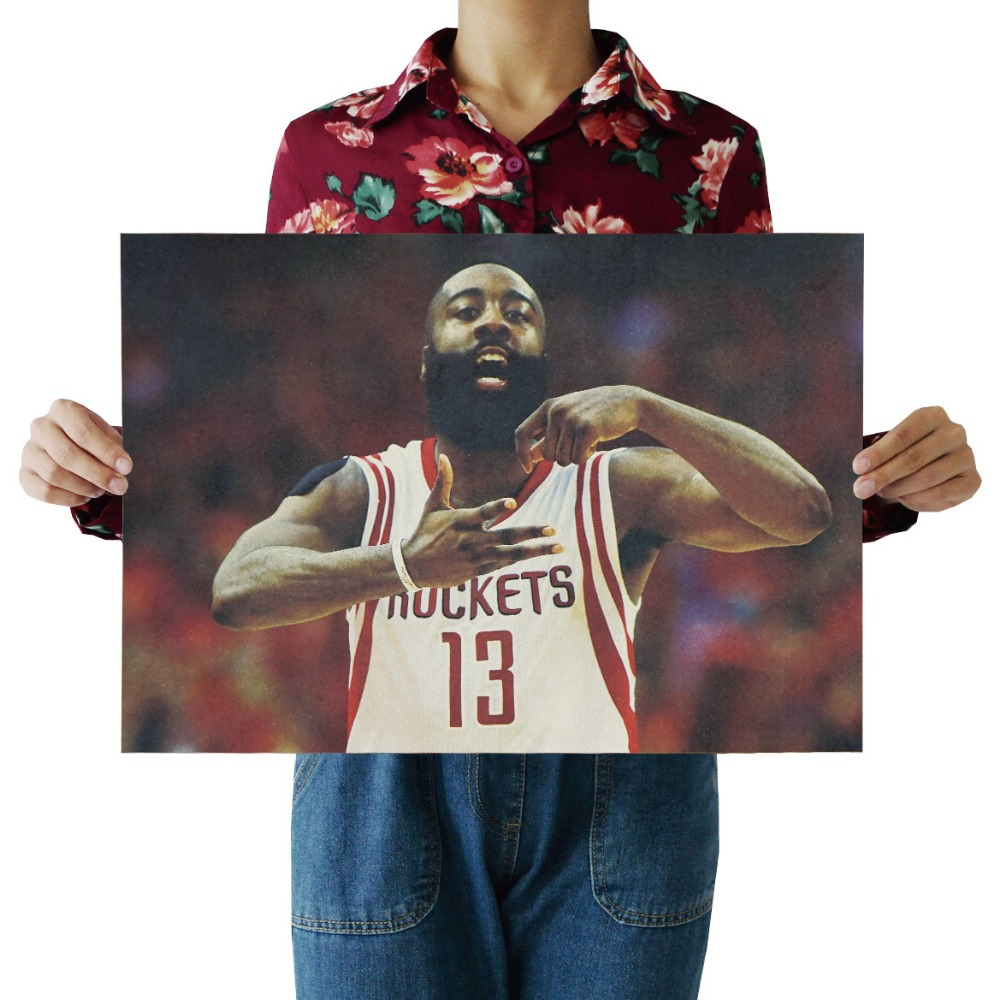 W,James Harden B,slam dunk,Basketball star Sports/kraft poster/Retro bar Poster/Wall stickers/decorative painting 51x35.5cm