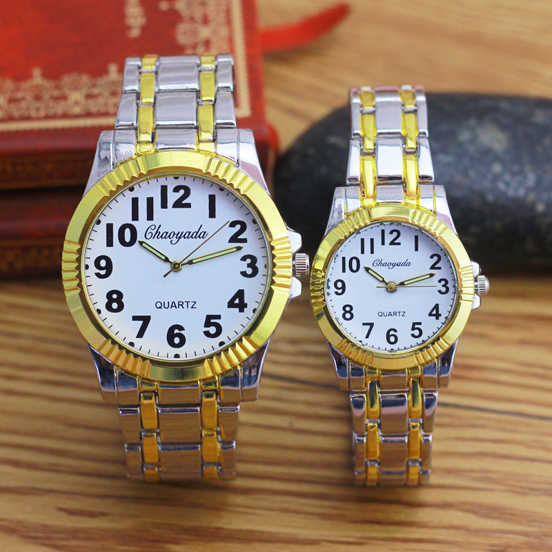 CHAOYADA Women Men Couple High Quality Stainless Steel Quartz Wristwatches Old Men Lady Big Digital Fashion Waterproof Clocks